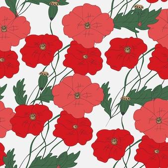 다채로운 손으로 그린된 양 귀 비 꽃 원활한 패턴