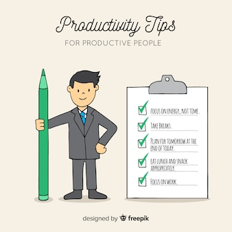 Colorful hand drawn productivity concept