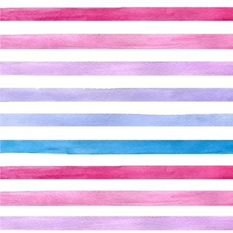 파란색, 분홍색, 보라색 가로 스트립으로 화려한 손으로 그린 실제 수채화 원활한 패턴