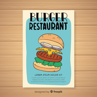 Colorful hand drawn restaurant flyer template