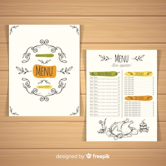 Colorful hand drawn restaurant menu template
