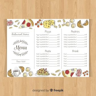 Colorful hand drawn restaurant menu template