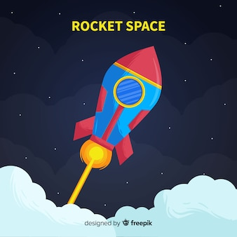 Colorful hand drawn rocket
