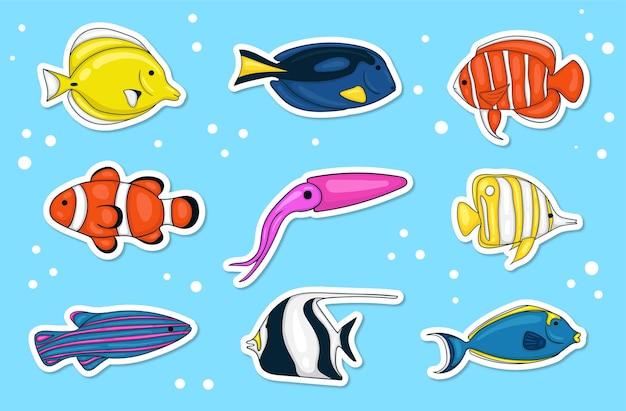 カラフルな手描きの海の動物のステッカーコレクション