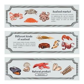 Красочные рисованной морепродуктов горизонтальные баннеры