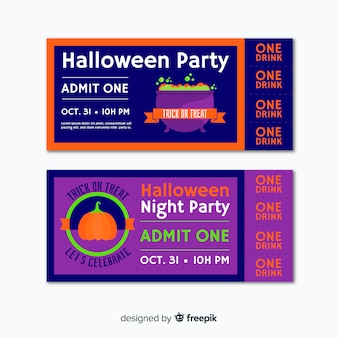 Colorful hand drawn set of halloween party tickets
