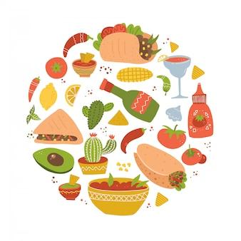 カラフルな手描きのメキシコ料理漫画のおいしいオブジェクト、シンボル、アイテムのセット