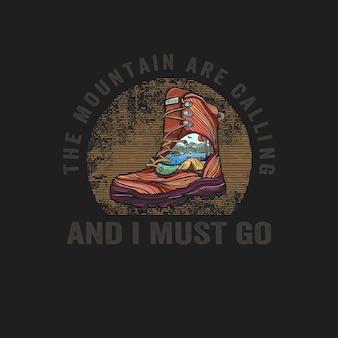 풍경 일러스트와 함께 다채로운 손으로 그린 신발
