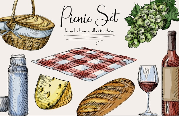 Colorful hand-drawn sketch of picnic set. the set includes basket, cheese, loaf bread, bottle and glass of wine, thermos and a mug, checkered blanket, grapes. colorful set