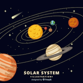 Colorful hand drawn solar system scheme