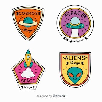Colorful hand drawn space badge collectio