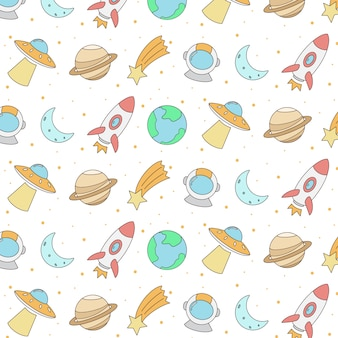 Colorful hand drawn space seamless pattern