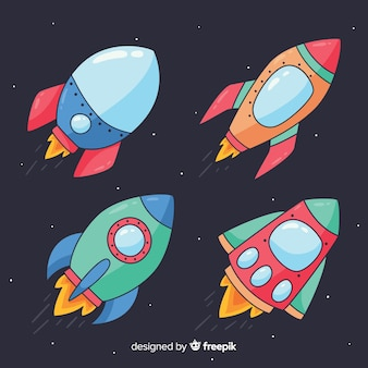Colorful hand drawn spaceship collection