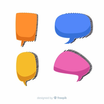 Colorful hand drawn speech balloons