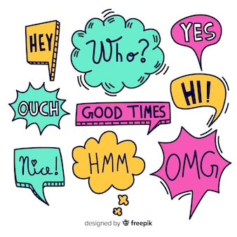 Colorful hand drawn speech bubbles with expressions