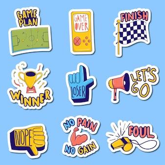 다채로운 손으로 그린 스포츠 스티커 컬렉션