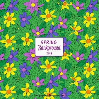 カラフルな手は、春の背景