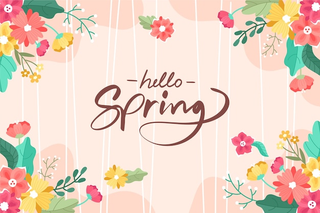 Colorful hand drawn spring background