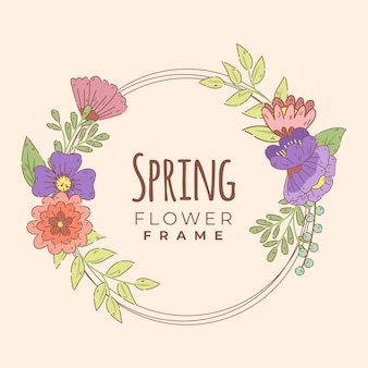 Colorful hand drawn spring floral frame