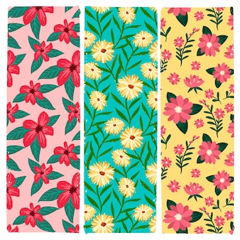 Colorful hand drawn spring pattern collection