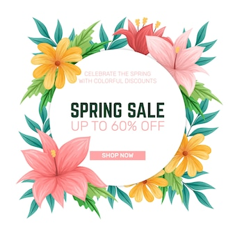 Colorful hand drawn spring sale concept
