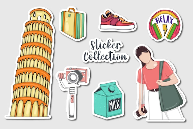 Colorful hand drawn stickers collection
