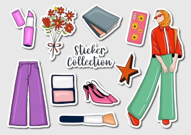 다채로운 손으로 그린 스티커 컬렉션