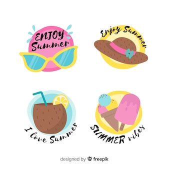Colorful hand drawn summer badge collection