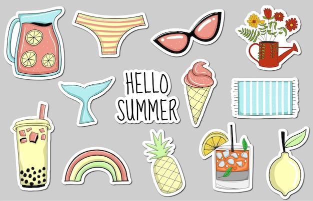 다채로운 손으로 그린 여름 요소 스티커 컬렉션