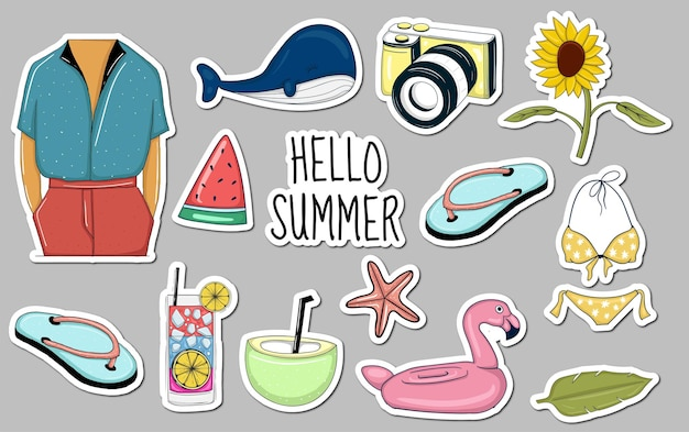 Colorful hand drawn summer element stickers collection