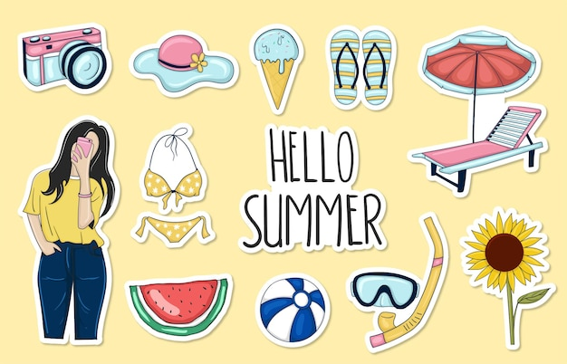 Colorful hand drawn summer sticker collection
