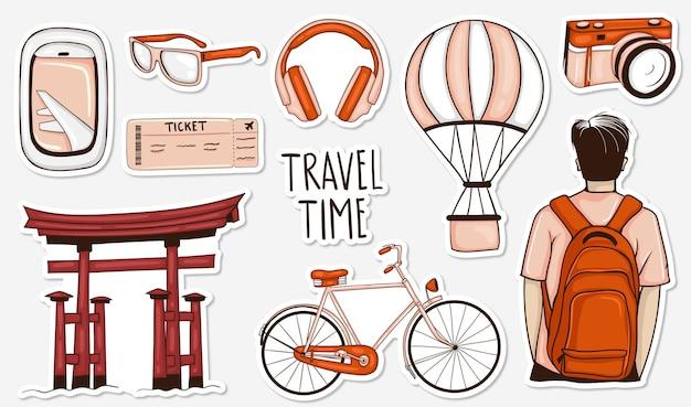 다채로운 손으로 그린 여행 스티커 컬렉션