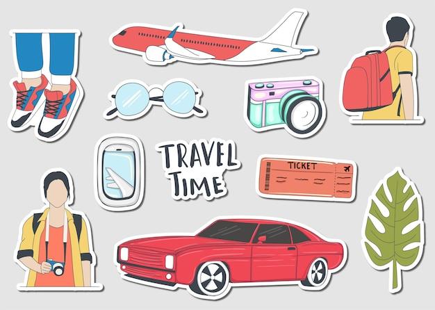 Коллекция красочных рисованной туристических наклеек