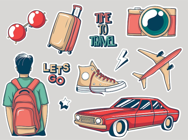 Colorful hand drawn travel stickers collection