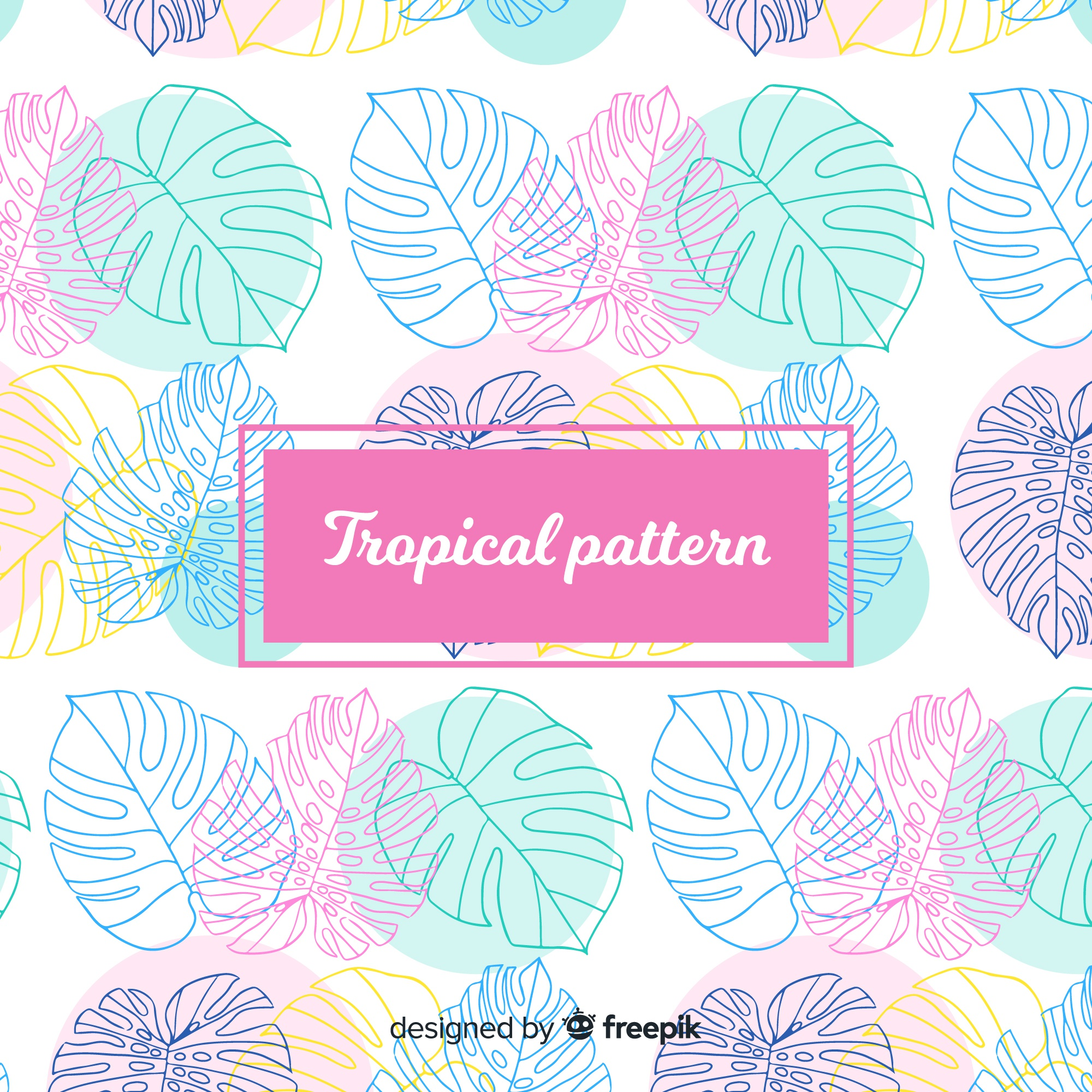 Colorful hand drawn tropical pattern