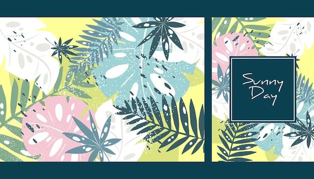 Красочный рисованный тропический дизайн плаката экзотические листья арт-принт