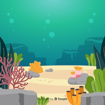 Colorful hand drawn underwater coral background