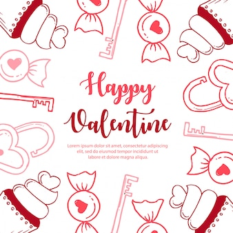 Colorful hand drawn valentine pattern