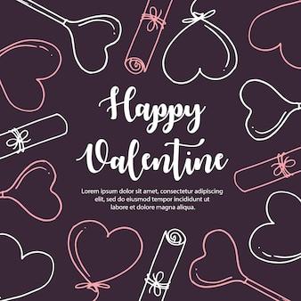 Colorful hand drawn valentine pattern