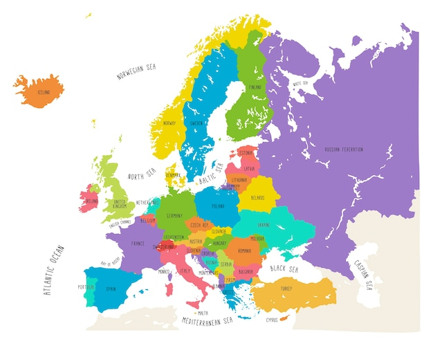 Colorful hand drawn vector map of europe