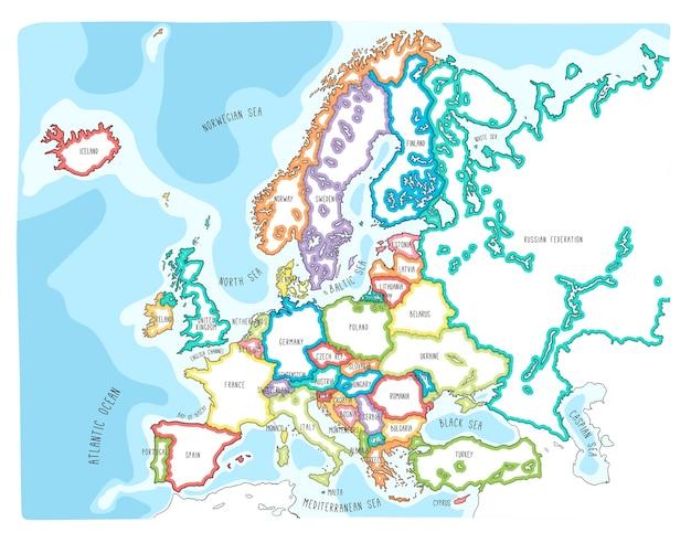 ヨーロッパのカラフルな手描きベクトル地図