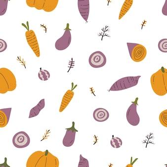 カラフルな手で描いた野菜のシームレスなパターン