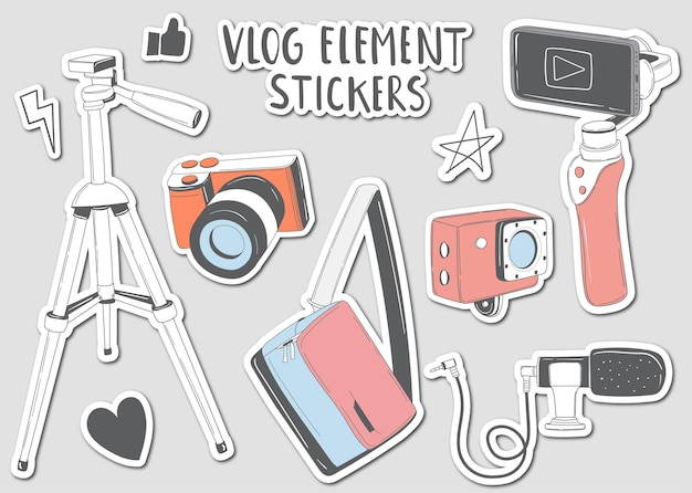 Colorful hand drawn vlog elements stickers