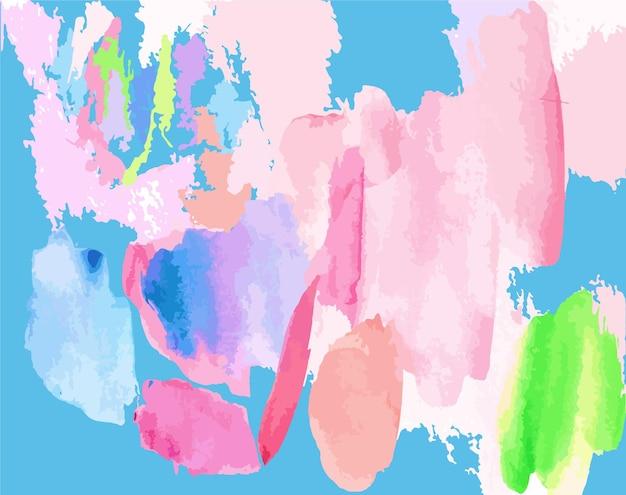 カラフルな手描きの水彩スプラッシュ明るい抽象的な背景