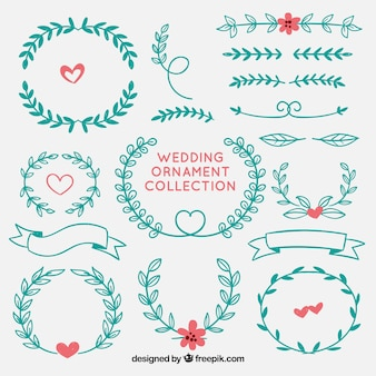 Colorful hand drawn wedding ornaments
