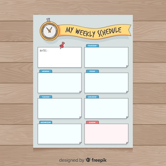 Colorful hand drawn weekly planner template