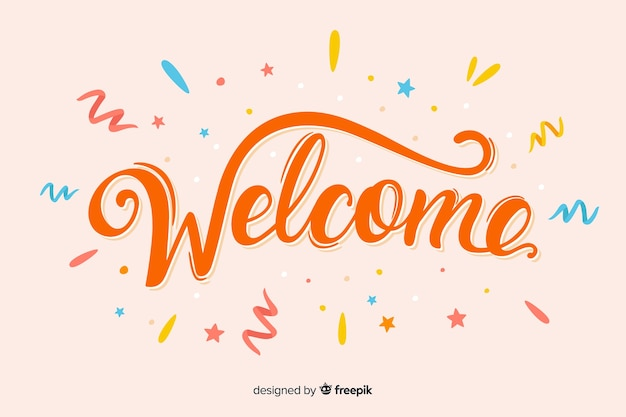 Colorful hand drawn welcome for landing page