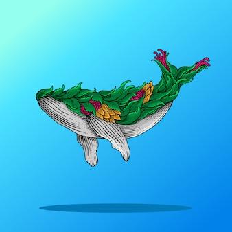 Красочные рисованной иллюстрации китов
