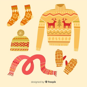 Colorful hand drawn winter clothes collectio
