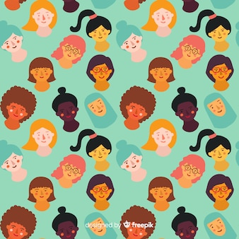 Colorful hand drawn women pattern